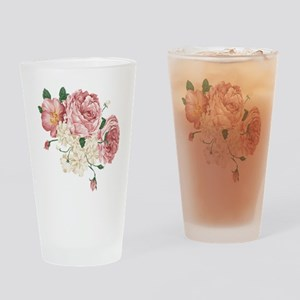 Pink Roses Flower Drinking Glass
