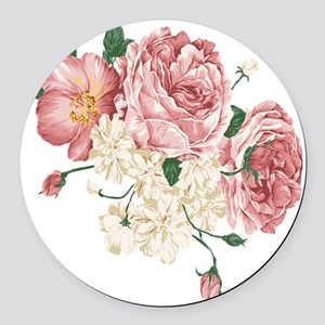 Pink Roses Flower Round Car Magnet