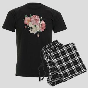 Pink Roses Flower Men's Dark Pajamas