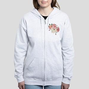 Pink Roses Flower Women's Zip Hoodie