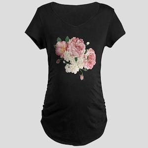 Pink Roses Flower Maternity Dark T-Shirt