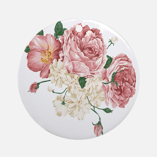 Pink Roses Flower Round Ornament