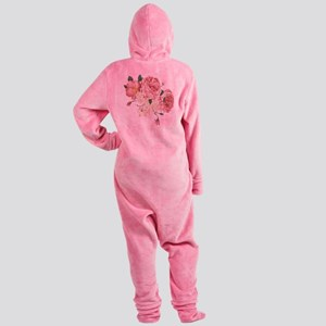 Pink Roses Flower Footed Pajamas