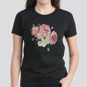 Pink Roses Flower Women's Dark T-Shirt
