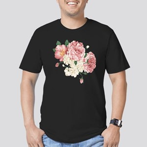 Pink Roses Flower Men's Fitted T-Shirt (dark)