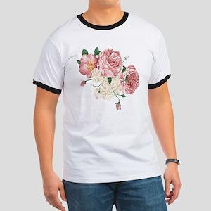 Pink Roses Flower Ringer T