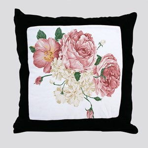 Pink Roses Flower Throw Pillow