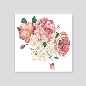"Pink Roses Flower Square Sticker 3"" x 3"""