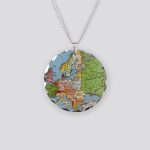 Map of Europe Necklace Circle Charm