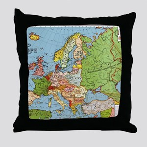 Map of Europe Throw Pillow
