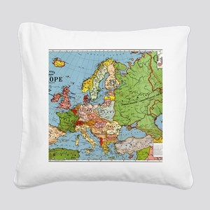 Map of Europe Square Canvas Pillow