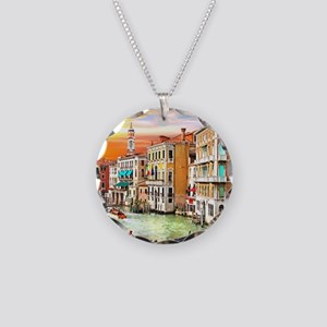Venice Photo Necklace Circle Charm