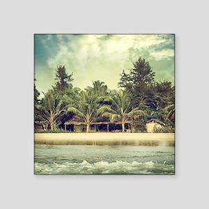 "Vintage Beach Photo Square Sticker 3"" x 3"""