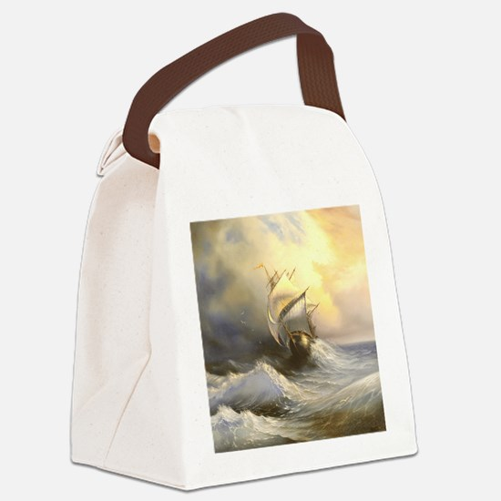 Vintage Sailboat Painting Canvas Lunch Bag