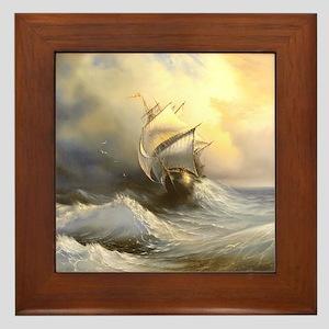Vintage Sailboat Painting Framed Tile