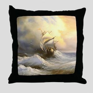 Vintage Sailboat Painting Throw Pillow