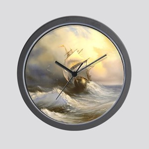 Vintage Sailboat Painting Wall Clock