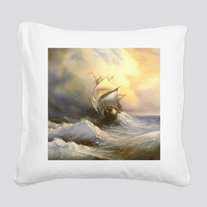 Vintage Sailboat Painting Square Canvas Pillow