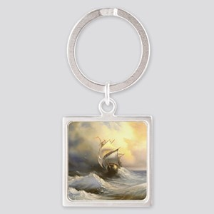 Vintage Sailboat Painting Square Keychain