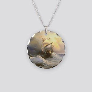 Vintage Sailboat Painting Necklace Circle Charm