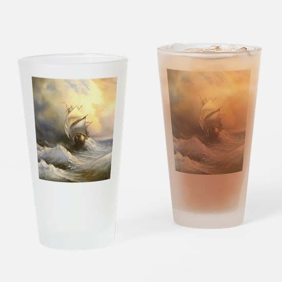 Vintage Sailboat Painting Drinking Glass