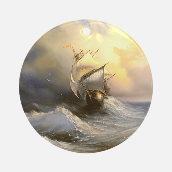 Vintage Sailboat Painting Round Ornament