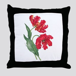 Redoute Red Parrot Tulips Throw Pillow