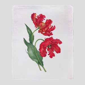 Redoute Red Parrot Tulips Throw Blanket