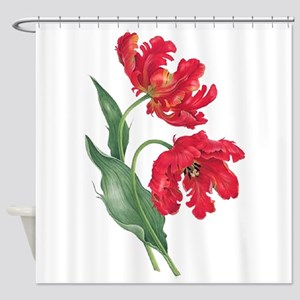 Redoute Red Parrot Tulips Shower Curtain