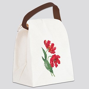 Redoute Red Parrot Tulips Canvas Lunch Bag