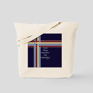 Philippians 4 13 Ribbons Blue Tote Bag