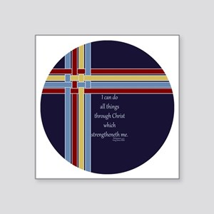 "Philippians 4 13 Ribbons Bl Square Sticker 3"" x 3"""