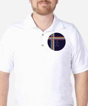 Philippians 4 13 Ribbons Blue Golf Shirt