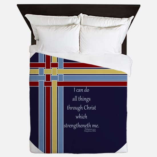 Philippians 4 13 Ribbons Blue Queen Duvet
