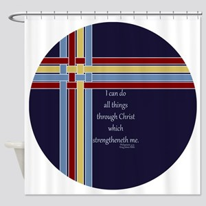 Philippians 4 13 Ribbons Blue Shower Curtain