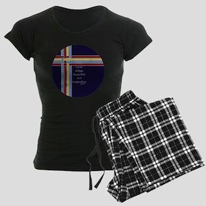Philippians 4 13 Ribbons Blu Women's Dark Pajamas