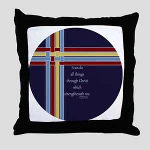 Philippians 4 13 Ribbons Blue Throw Pillow