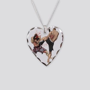 Muay Thai Kick Necklace Heart Charm