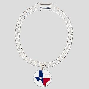 Texas Flag Map Charm Bracelet, One Charm