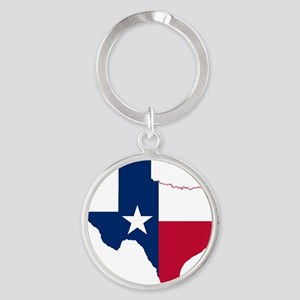 Texas Flag Map Round Keychain