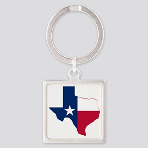 Texas Flag Map Square Keychain