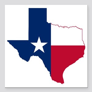"Texas Flag Map Square Car Magnet 3"" x 3"""