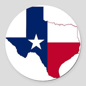 Texas Flag Map Round Car Magnet