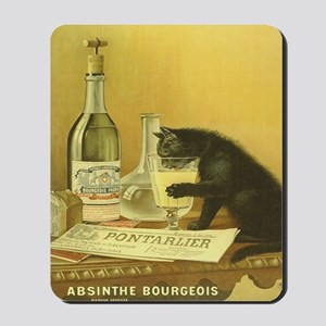 Vintage Absinthe Black Cat Mousepad