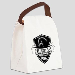Friesian Sporthorse logo bw Canvas Lunch Bag