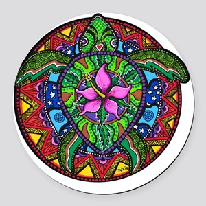 Sea Turtle Painting Round Car Magnet