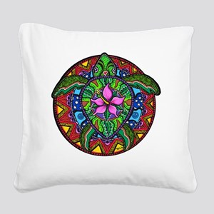 Sea Turtle Painting Square Canvas Pillow