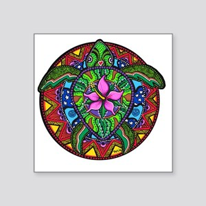 "Sea Turtle Painting Square Sticker 3"" x 3"""