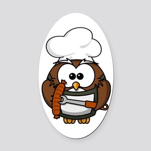 Owl Grill Oval Car Magnet