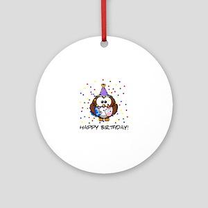 Happy Birthday Owl Round Ornament